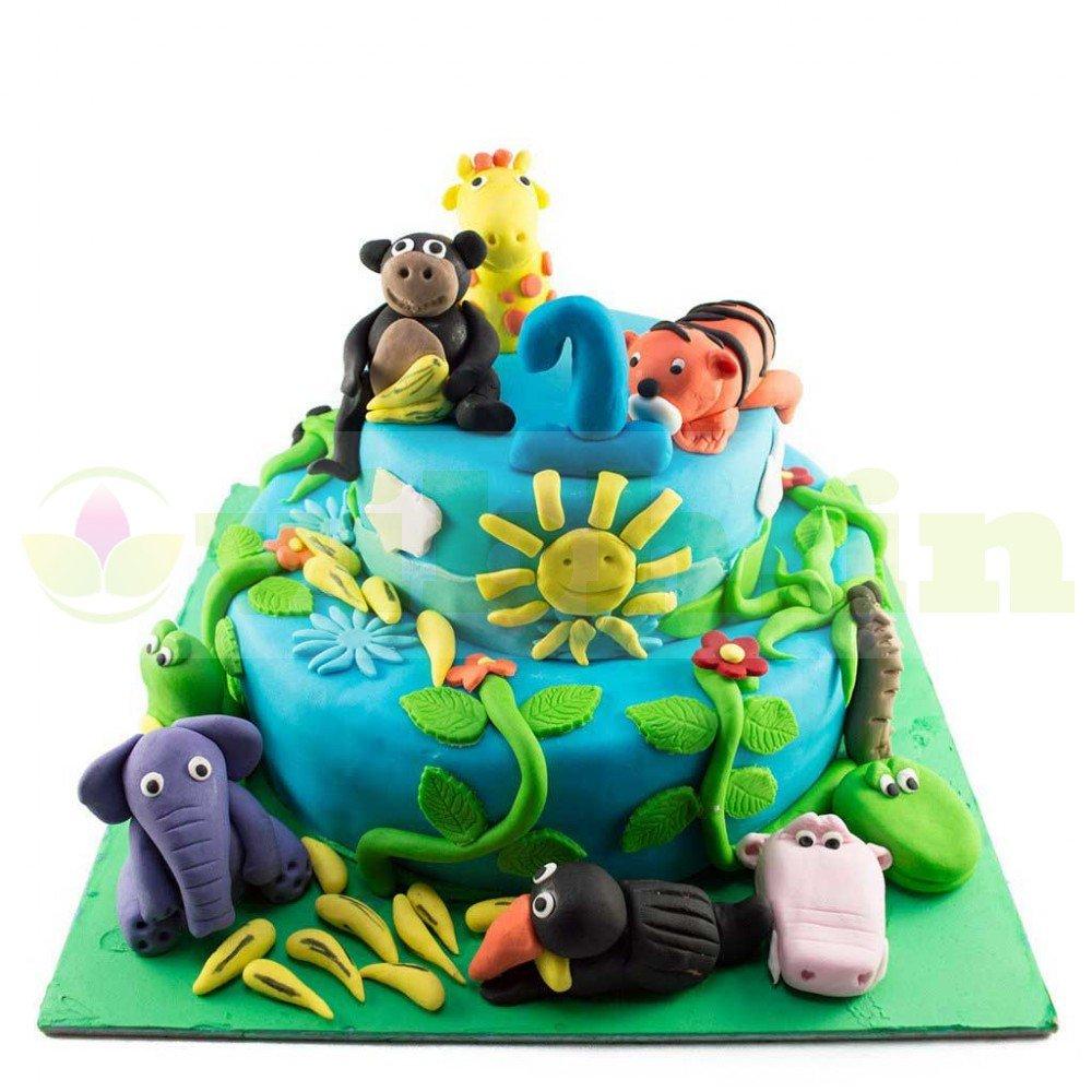 Awe Inspiring Buy Animal Theme First Birthday Cake Online In Faridabad From Funny Birthday Cards Online Alyptdamsfinfo