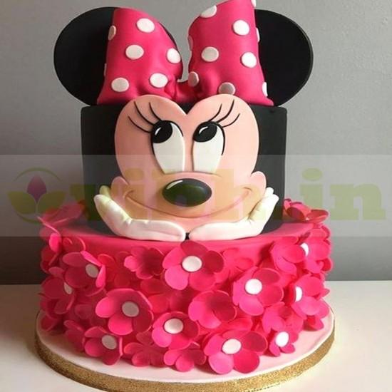 Groovy Buy Minnie Mouse 1St Birthday Fondant Cake Online In Faridabad Funny Birthday Cards Online Elaedamsfinfo